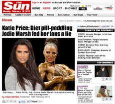 Katie Price and Jodie Marsh diet pill arguement